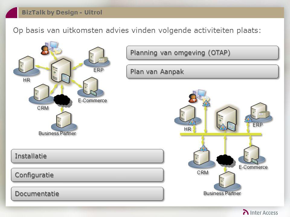 BizTalk by Design - Uitrol Op basis van uitkomsten advies vinden volgende activiteiten plaats: Planning van omgeving (OTAP) Plan van Aanpak InstallatieInstallatie DocumentatieDocumentatie ConfiguratieConfiguratie