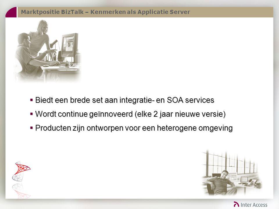 Marktpositie BizTalk – Kenmerken als Applicatie Server  Biedt een brede set aan integratie- en SOA services  Wordt continue geïnnoveerd (elke 2 jaar nieuwe versie)  Producten zijn ontworpen voor een heterogene omgeving