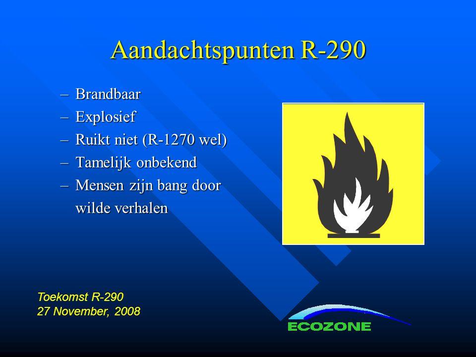 Aandachtspunten R-290 –Brandbaar –Explosief –Ruikt niet (R-1270 wel) –Tamelijk onbekend –Mensen zijn bang door wilde verhalen Toekomst R-290 27 November, 2008