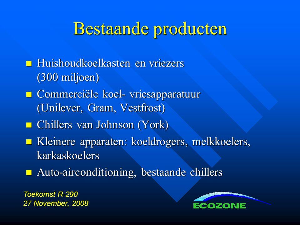 Bestaande producten  Huishoudkoelkasten en vriezers (300 miljoen)  Commerciële koel- vriesapparatuur (Unilever, Gram, Vestfrost)  Chillers van Johnson (York)  Kleinere apparaten: koeldrogers, melkkoelers, karkaskoelers  Auto-airconditioning, bestaande chillers Toekomst R-290 27 November, 2008