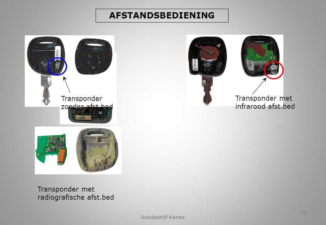 20 AFSTANDSBEDIENING Transponder zonder afst.bed Transponder met infrarood afst.bed Transponder met radiografische afst.bed Autobedrijf Kerres