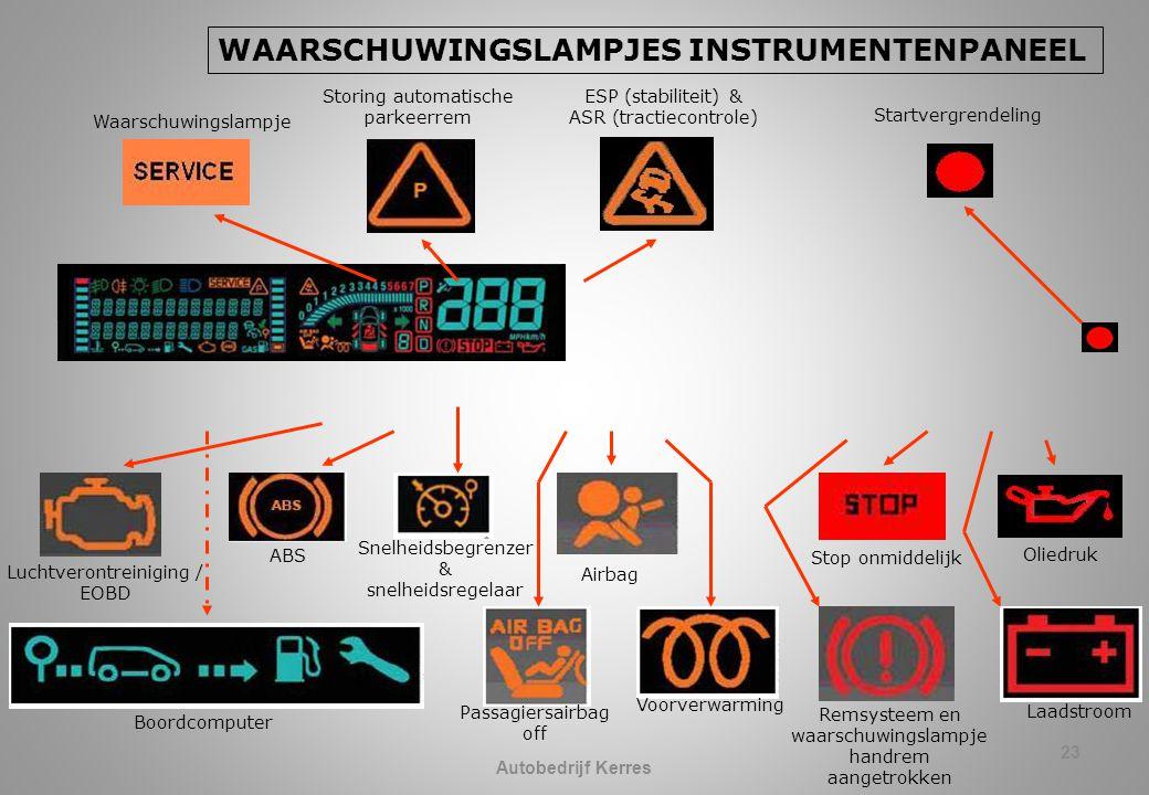 23 WAARSCHUWINGSLAMPJES INSTRUMENTENPANEEL ESP (stabiliteit) & ASR (tractiecontrole) Snelheidsbegrenzer & snelheidsregelaar Luchtverontreiniging / EOBD ABS Airbag Oliedruk Passagiersairbag off Voorverwarming Remsysteem en waarschuwingslampje handrem aangetrokken Laadstroom Stop onmiddelijk Boordcomputer Storing automatische parkeerrem Waarschuwingslampje Startvergrendeling Autobedrijf Kerres