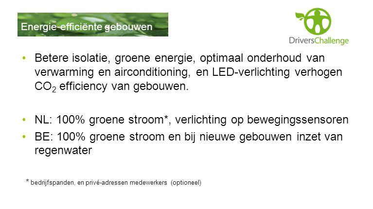 •Betere isolatie, groene energie, optimaal onderhoud van verwarming en airconditioning, en LED-verlichting verhogen CO 2 efficiency van gebouwen. •NL: