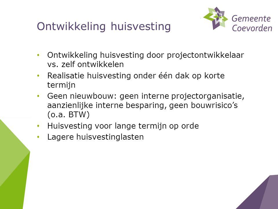 • Ontwikkeling huisvesting door projectontwikkelaar vs.