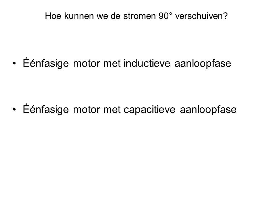 Hoe kunnen we de stromen 90° verschuiven? •Éénfasige motor met inductieve aanloopfase •Éénfasige motor met capacitieve aanloopfase