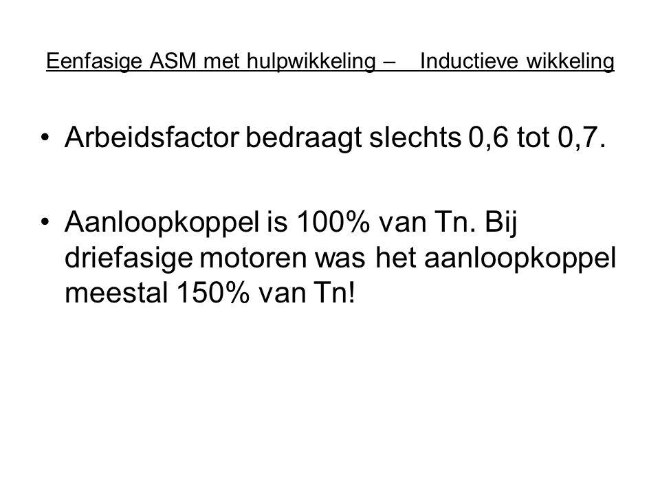 Eenfasige ASM met hulpwikkeling – Inductieve wikkeling •Arbeidsfactor bedraagt slechts 0,6 tot 0,7. •Aanloopkoppel is 100% van Tn. Bij driefasige moto