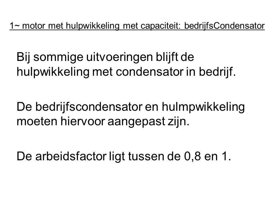 1~ motor met hulpwikkeling met capaciteit: bedrijfsCondensator Bij sommige uitvoeringen blijft de hulpwikkeling met condensator in bedrijf. De bedrijf