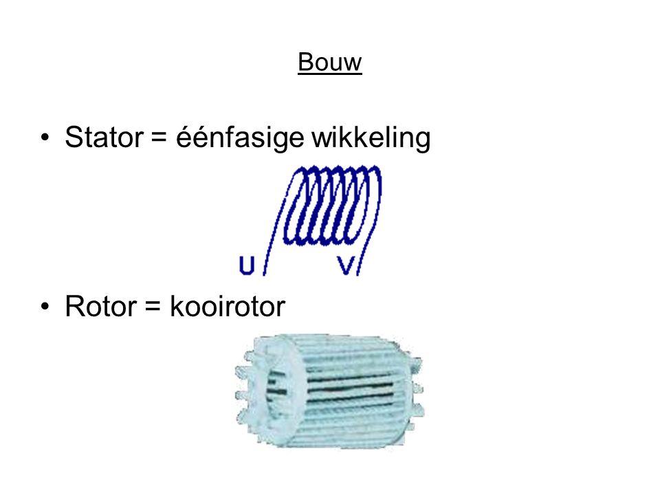 Bouw •Stator = éénfasige wikkeling •Rotor = kooirotor