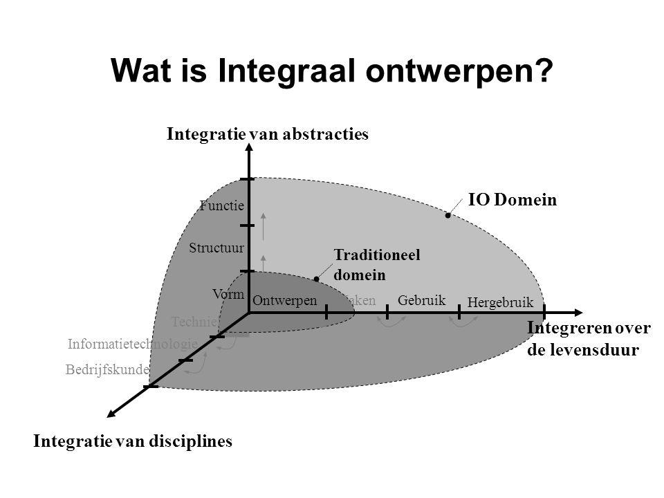 Wat is Integraal ontwerpen? Functie Structuur Vorm Integreren over de levensduur IO Domein Techniek Informatietechnologie Bedrijfskunde MakenOntwerpen