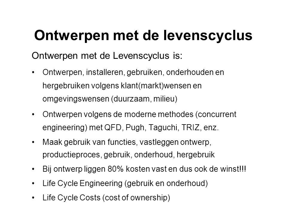 Ontwerpen met de levenscyclus Ontwerpen met de Levenscyclus is: •Ontwerpen, installeren, gebruiken, onderhouden en hergebruiken volgens klant(markt)we