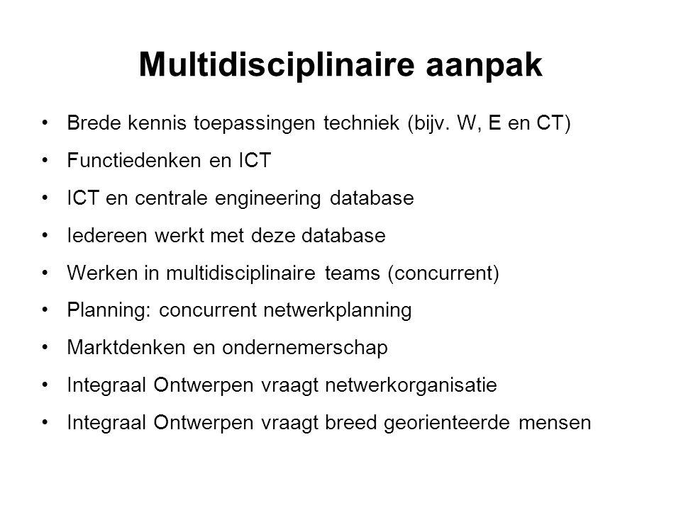 Multidisciplinaire aanpak •Brede kennis toepassingen techniek (bijv. W, E en CT) •Functiedenken en ICT •ICT en centrale engineering database •Iedereen
