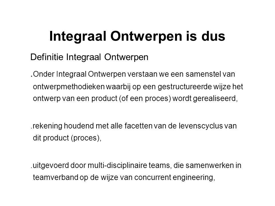 Integraal Ontwerpen is dus Definitie Integraal Ontwerpen. Onder Integraal Ontwerpen verstaan we een samenstel van ontwerpmethodieken waarbij op een ge