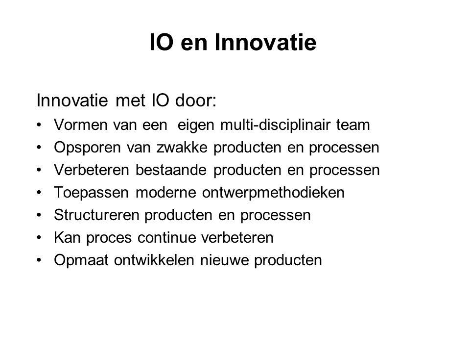 IO en Innovatie Innovatie met IO door: •Vormen van een eigen multi-disciplinair team •Opsporen van zwakke producten en processen •Verbeteren bestaande