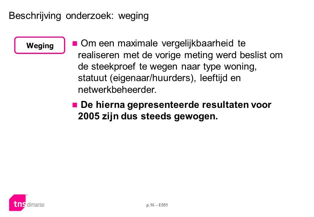 p.16 – E051 Beschrijving onderzoek: weging  Om een maximale vergelijkbaarheid te realiseren met de vorige meting werd beslist om de steekproef te weg