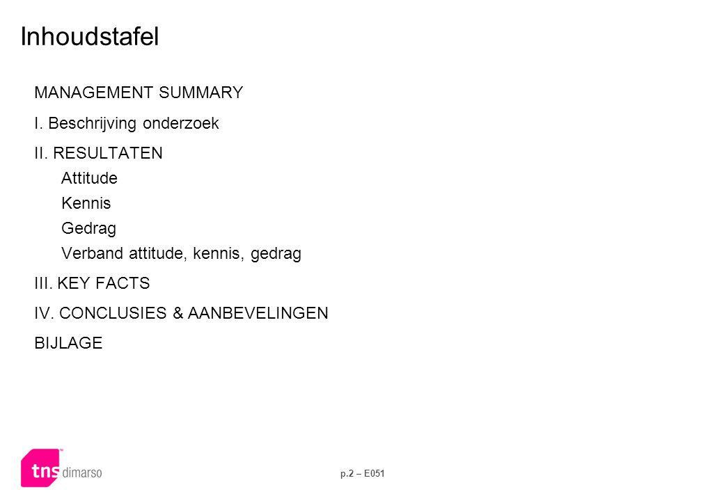 p.2 – E051 Inhoudstafel MANAGEMENT SUMMARY I. Beschrijving onderzoek II. RESULTATEN Attitude Kennis Gedrag Verband attitude, kennis, gedrag III. KEY F