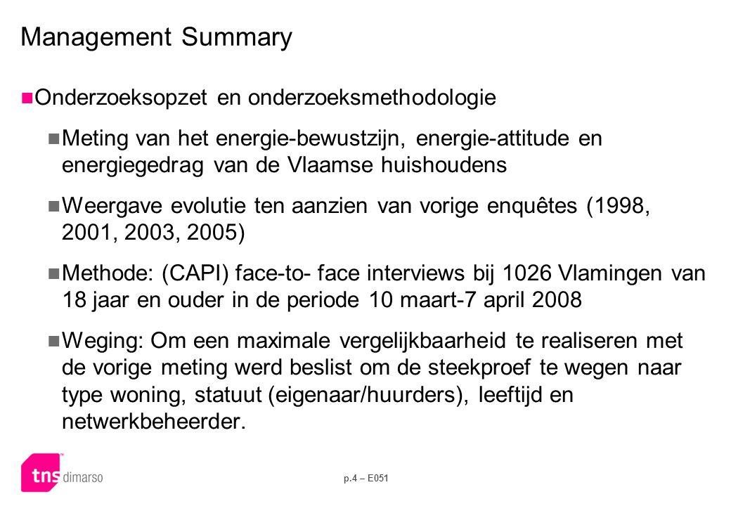 p.4 – E051 Management Summary  Onderzoeksopzet en onderzoeksmethodologie  Meting van het energie-bewustzijn, energie-attitude en energiegedrag van de Vlaamse huishoudens  Weergave evolutie ten aanzien van vorige enquêtes (1998, 2001, 2003, 2005)  Methode: (CAPI) face-to- face interviews bij 1026 Vlamingen van 18 jaar en ouder in de periode 10 maart-7 april 2008  Weging: Om een maximale vergelijkbaarheid te realiseren met de vorige meting werd beslist om de steekproef te wegen naar type woning, statuut (eigenaar/huurders), leeftijd en netwerkbeheerder.