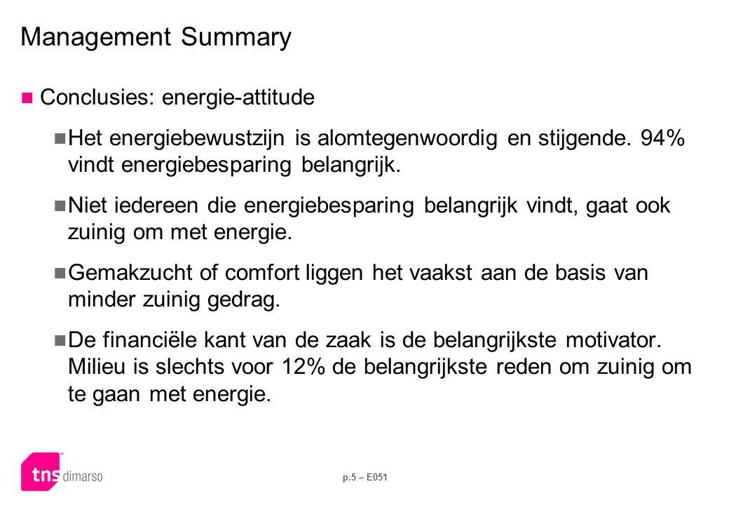 p.5 – E051 Management Summary  Conclusies: energie-attitude  Het energiebewustzijn is alomtegenwoordig en stijgende. 94% vindt energiebesparing bela