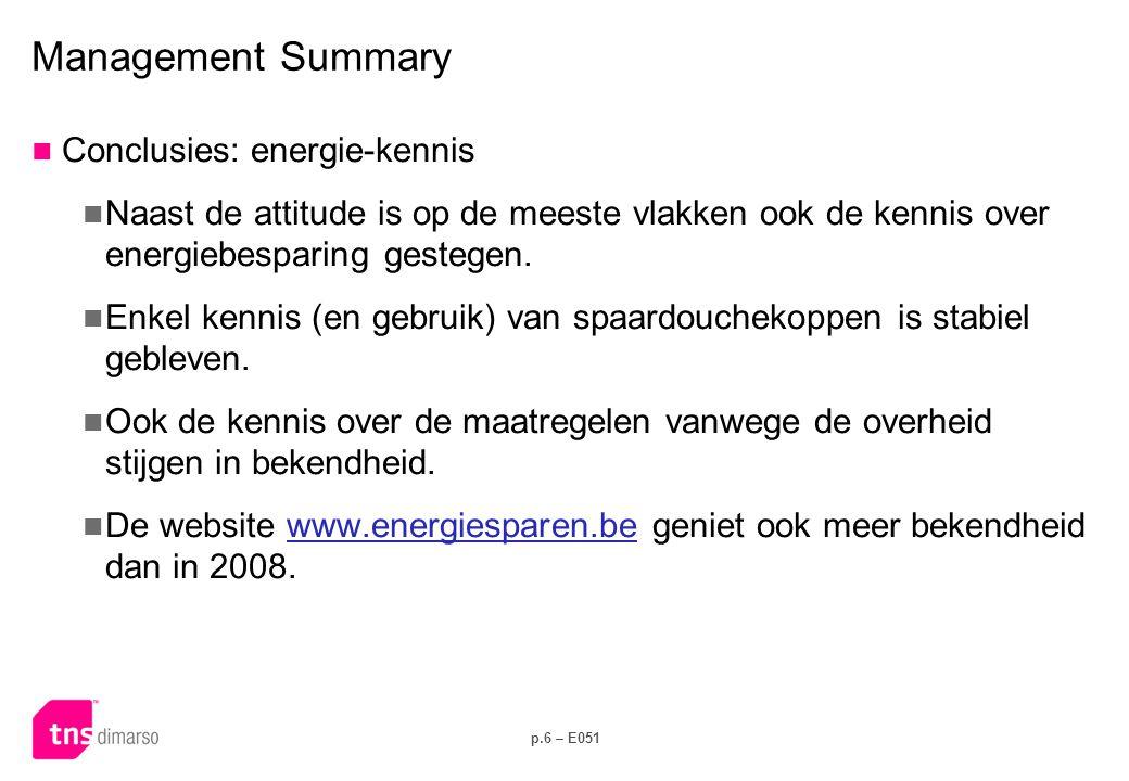 p.6 – E051 Management Summary  Conclusies: energie-kennis  Naast de attitude is op de meeste vlakken ook de kennis over energiebesparing gestegen. 