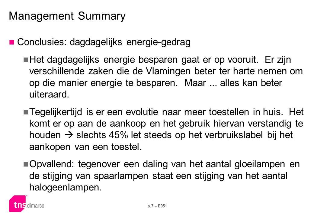 p.7 – E051 Management Summary  Conclusies: dagdagelijks energie-gedrag  Het dagdagelijks energie besparen gaat er op vooruit. Er zijn verschillende