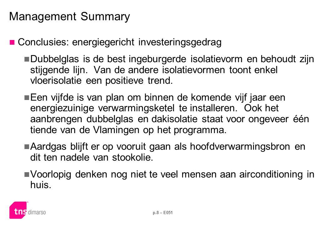 p.8 – E051 Management Summary  Conclusies: energiegericht investeringsgedrag  Dubbelglas is de best ingeburgerde isolatievorm en behoudt zijn stijge
