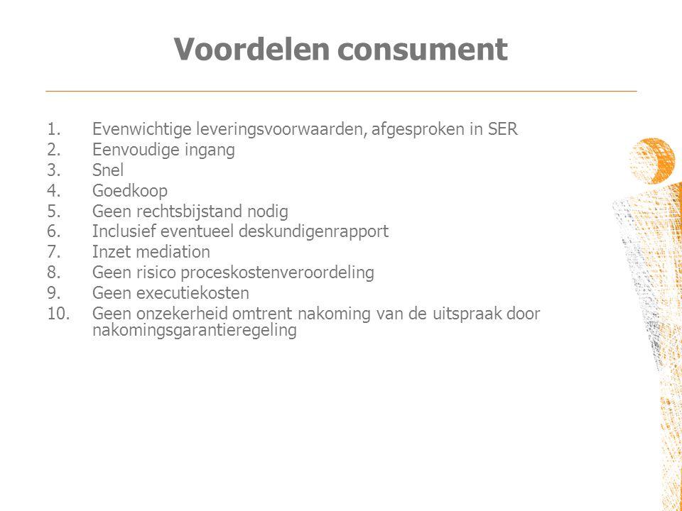 Voordelen consument 1.Evenwichtige leveringsvoorwaarden, afgesproken in SER 2.Eenvoudige ingang 3.Snel 4.Goedkoop 5.Geen rechtsbijstand nodig 6.Inclus