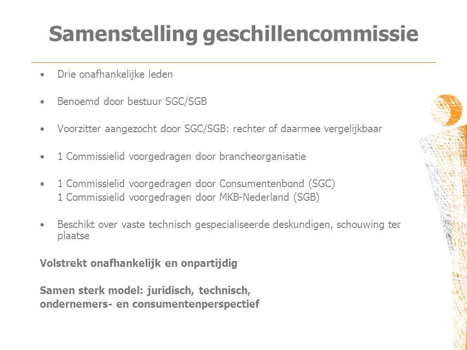 Samenstelling geschillencommissie •Drie onafhankelijke leden •Benoemd door bestuur SGC/SGB •Voorzitter aangezocht door SGC/SGB: rechter of daarmee ver