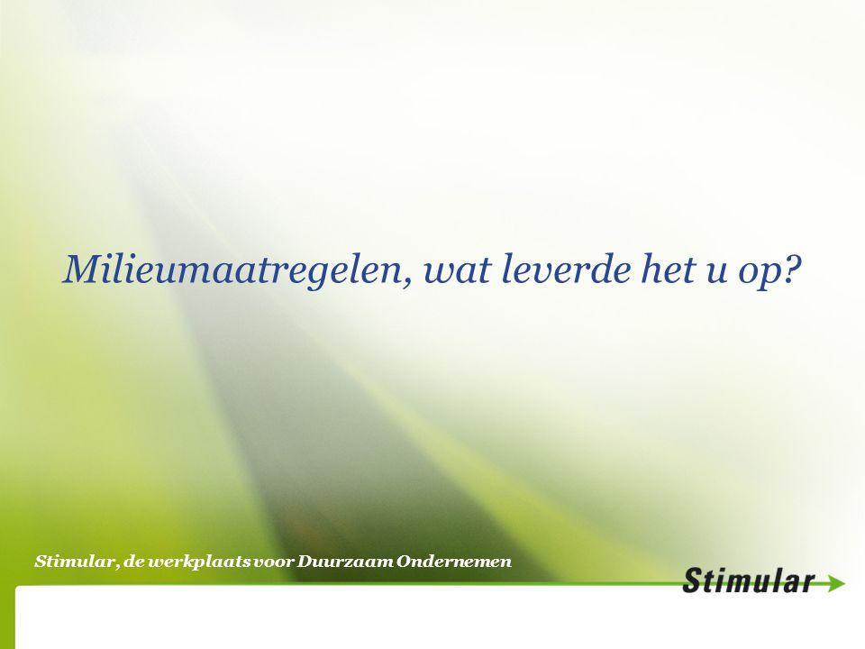 Stimular, de werkplaats voor Duurzaam Ondernemen Milieumaatregelen, wat leverde het u op?