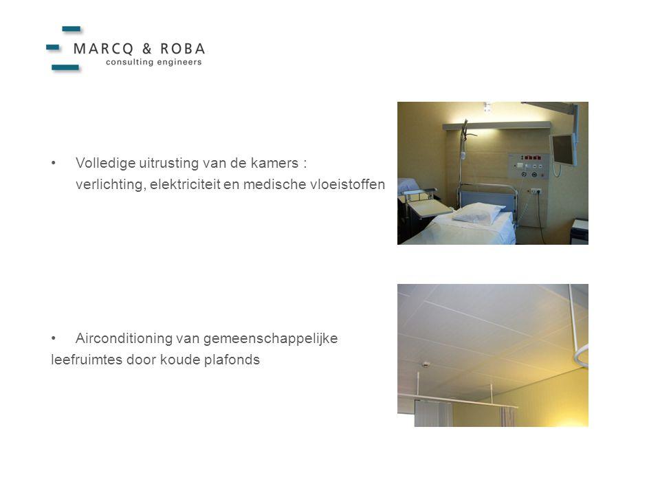 •Volledige uitrusting van de kamers : verlichting, elektriciteit en medische vloeistoffen •Airconditioning van gemeenschappelijke leefruimtes door koude plafonds