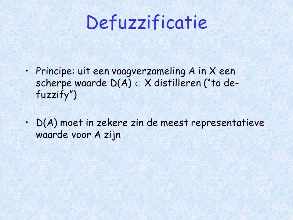 Defuzzificatie •Principe: uit een vaagverzameling A in X een scherpe waarde D(A)  X distilleren ( to de- fuzzify ) •D(A) moet in zekere zin de meest representatieve waarde voor A zijn