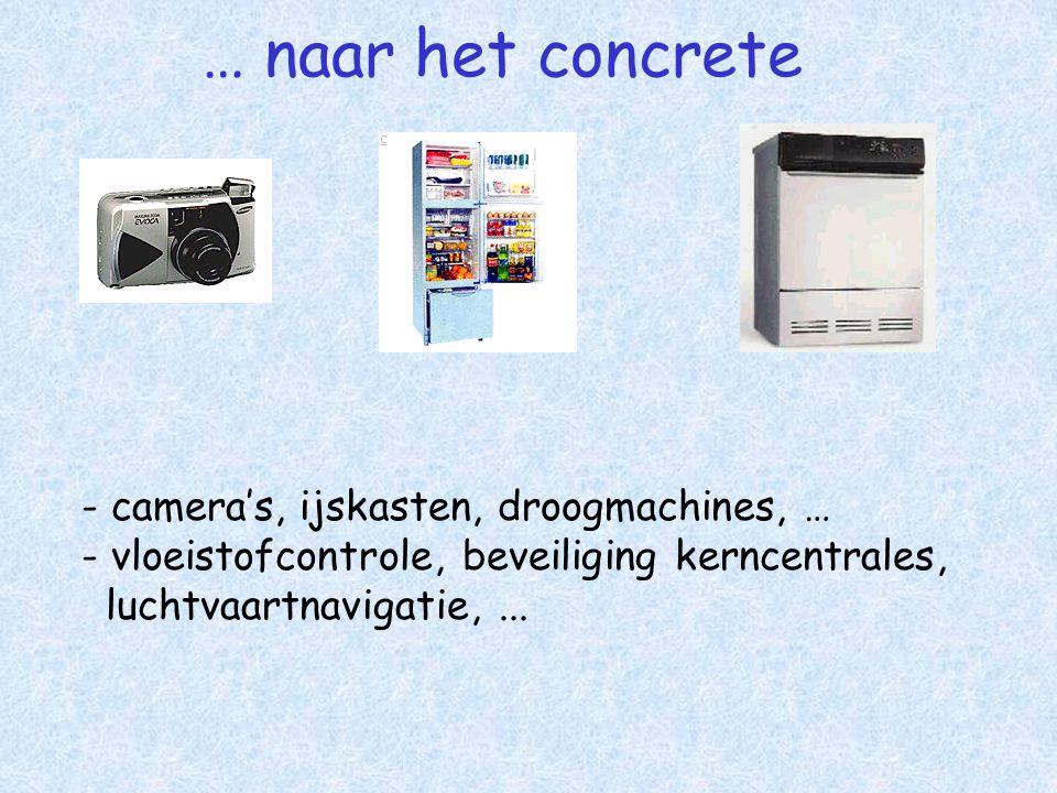 … naar het concrete - camera's, ijskasten, droogmachines, … - vloeistofcontrole, beveiliging kerncentrales, luchtvaartnavigatie,...
