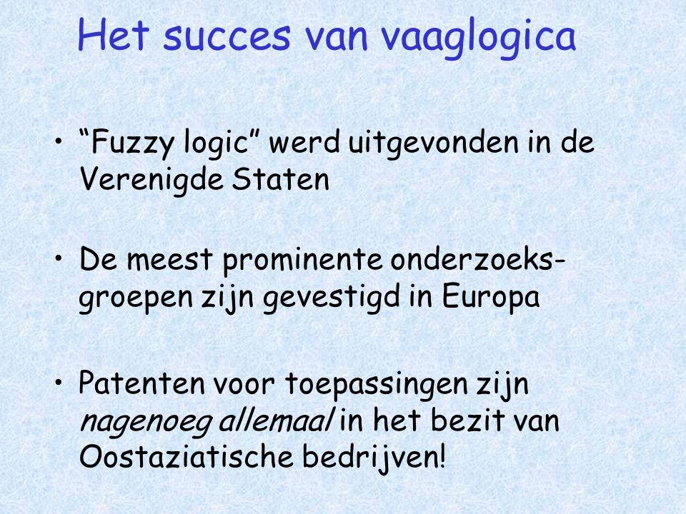 Het succes van vaaglogica • Fuzzy logic werd uitgevonden in de Verenigde Staten •De meest prominente onderzoeks- groepen zijn gevestigd in Europa •Patenten voor toepassingen zijn nagenoeg allemaal in het bezit van Oostaziatische bedrijven!