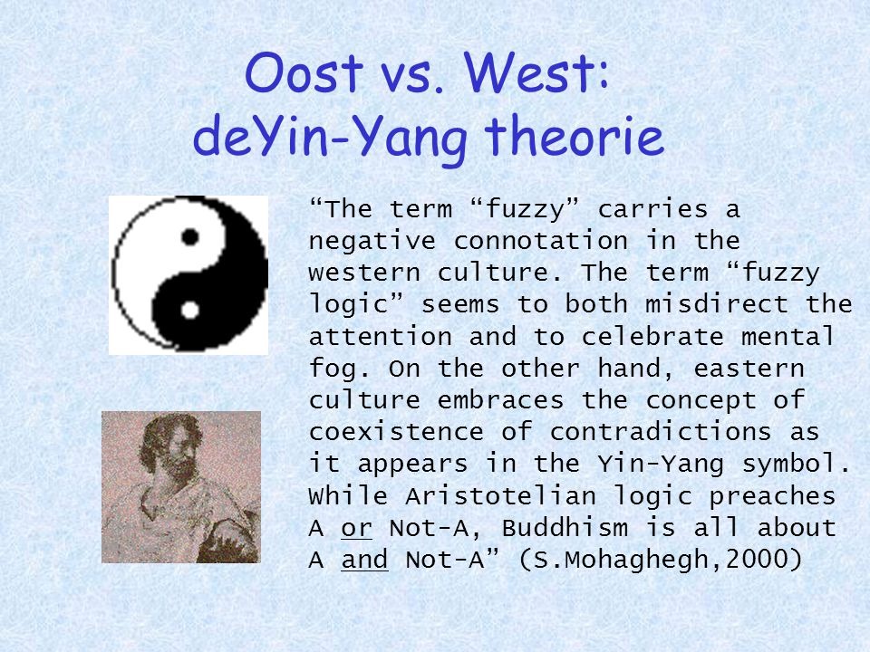 "Oost vs. West: deYin-Yang theorie ""The term ""fuzzy"" carries a negative connotation in the western culture. The term ""fuzzy logic"" seems to both misdir"