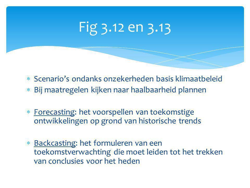 Fig 3.12 en 3.13  Scenario's ondanks onzekerheden basis klimaatbeleid  Bij maatregelen kijken naar haalbaarheid plannen  Forecasting: het voorspell