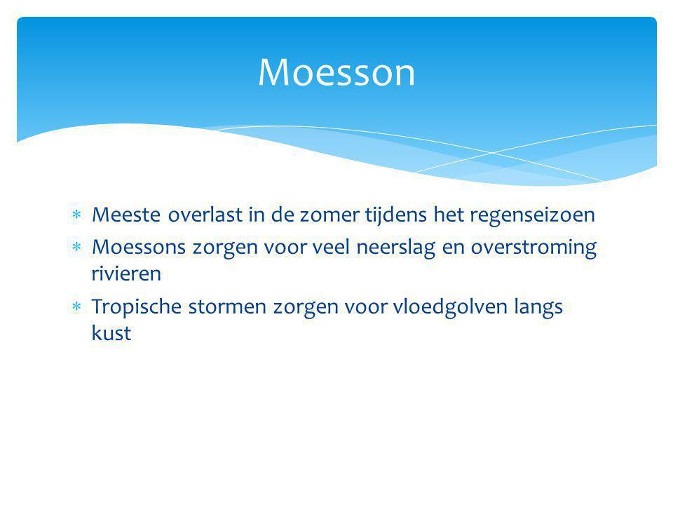 Moesson  Meeste overlast in de zomer tijdens het regenseizoen  Moessons zorgen voor veel neerslag en overstroming rivieren  Tropische stormen zorge