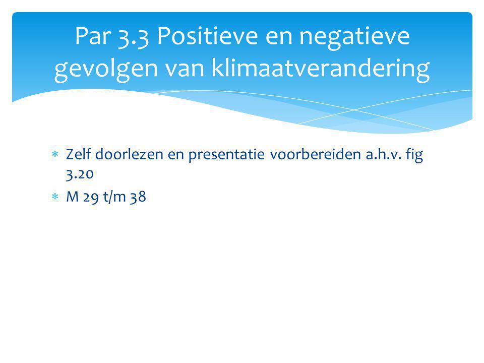 Par 3.3 Positieve en negatieve gevolgen van klimaatverandering  Zelf doorlezen en presentatie voorbereiden a.h.v. fig 3.20  M 29 t/m 38
