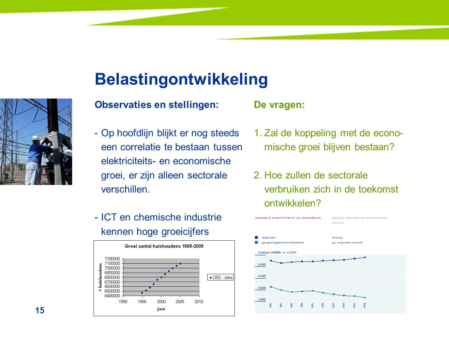 15 Belastingontwikkeling Observaties en stellingen: -Op hoofdlijn blijkt er nog steeds een correlatie te bestaan tussen elektriciteits- en economische