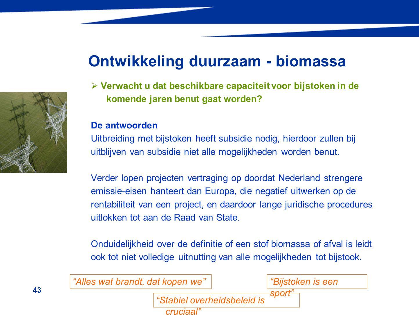 43 Ontwikkeling duurzaam - biomassa  Verwacht u dat beschikbare capaciteit voor bijstoken in de komende jaren benut gaat worden? De antwoorden Uitbre