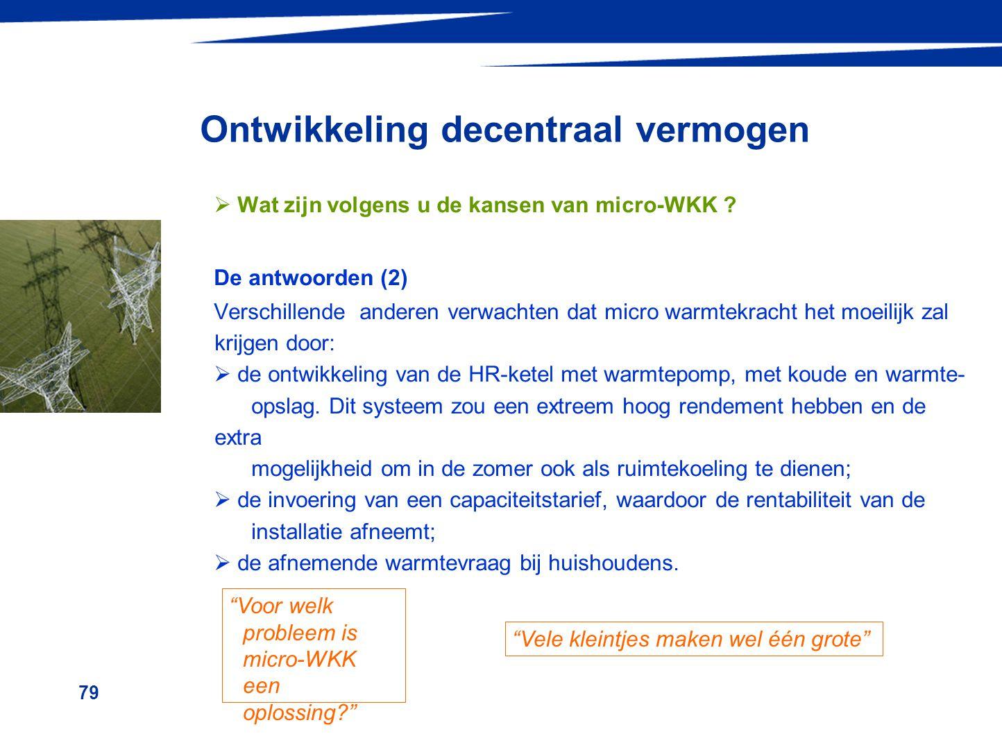 79 Ontwikkeling decentraal vermogen  Wat zijn volgens u de kansen van micro-WKK ? De antwoorden (2) Verschillende anderen verwachten dat micro warmte