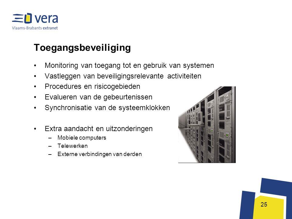 25 Toegangsbeveiliging •Monitoring van toegang tot en gebruik van systemen •Vastleggen van beveiligingsrelevante activiteiten •Procedures en risicogeb