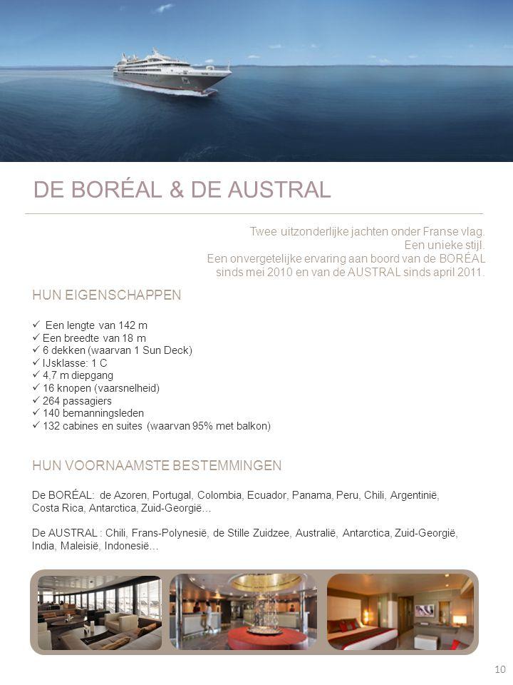10 DE BORÉAL & DE AUSTRAL HUN EIGENSCHAPPEN  Een lengte van 142 m  Een breedte van 18 m  6 dekken (waarvan 1 Sun Deck)  IJsklasse: 1 C  4,7 m die