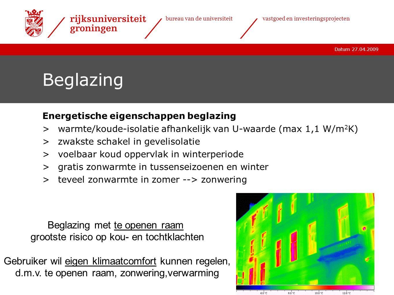 Datum 27.04.2009 bureau van de universiteitvastgoed en investeringsprojecten Beglazing Energetische eigenschappen beglazing >warmte/koude-isolatie afh