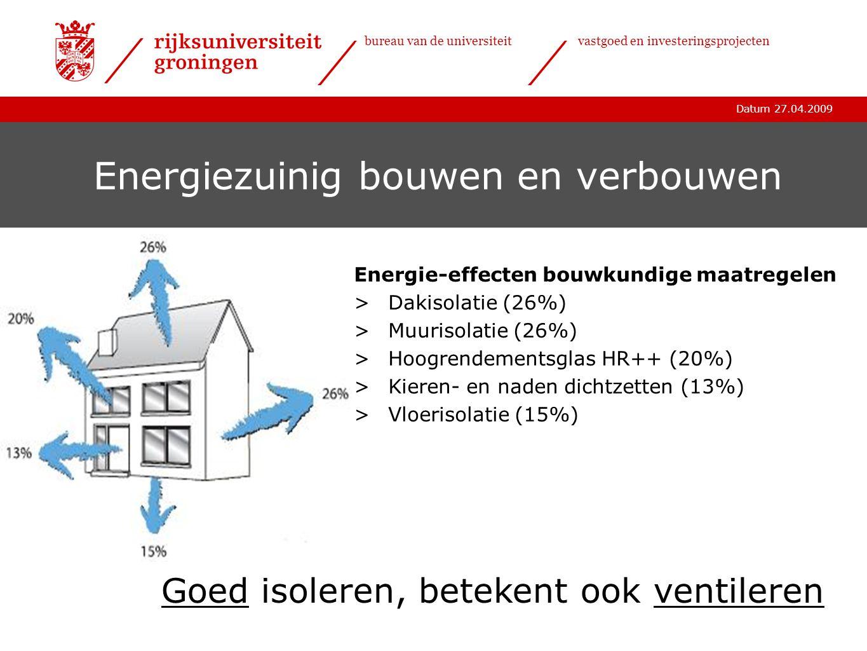 Datum 27.04.2009 bureau van de universiteitvastgoed en investeringsprojecten Energiezuinig bouwen en verbouwen Energie-effecten bouwkundige maatregele