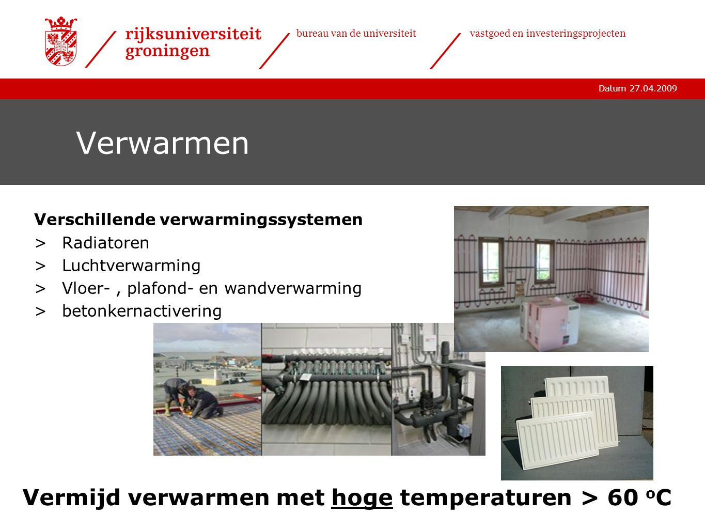 Datum 27.04.2009 bureau van de universiteitvastgoed en investeringsprojecten Verwarmen Verschillende verwarmingssystemen >Radiatoren >Luchtverwarming