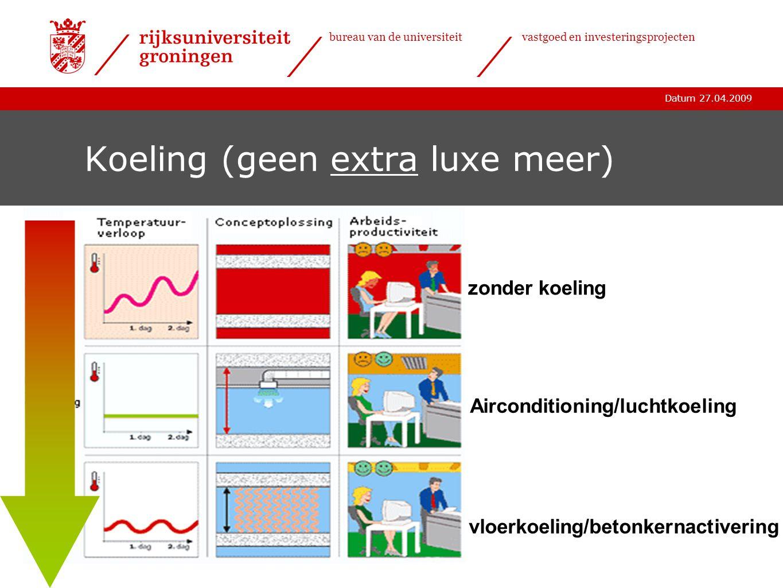 Datum 27.04.2009 bureau van de universiteitvastgoed en investeringsprojecten Koeling (geen extra luxe meer) vloerkoeling/betonkernactivering Aircondit