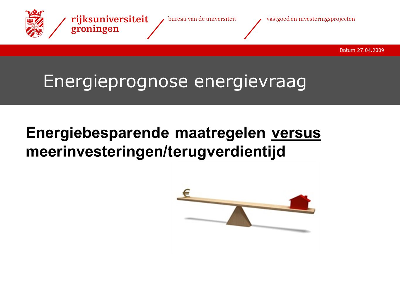 Datum 27.04.2009 bureau van de universiteitvastgoed en investeringsprojecten Energieprognose energievraag Energiebesparende maatregelen versus meerinv