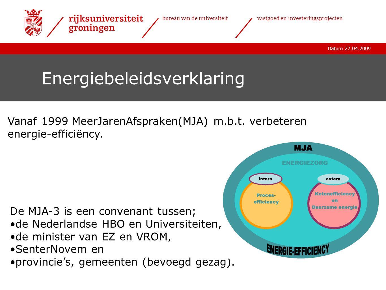 Datum 27.04.2009 bureau van de universiteitvastgoed en investeringsprojecten Energiegebruik Huidig energieverbruik (2008): •Elektriciteit50.500.000 kWh •Gas 5.500.000 m3 •Water 150.000 m3 Totale energiekosten 9 miljoen euro/jaar verbeteren energie-efficiëncy o.a.