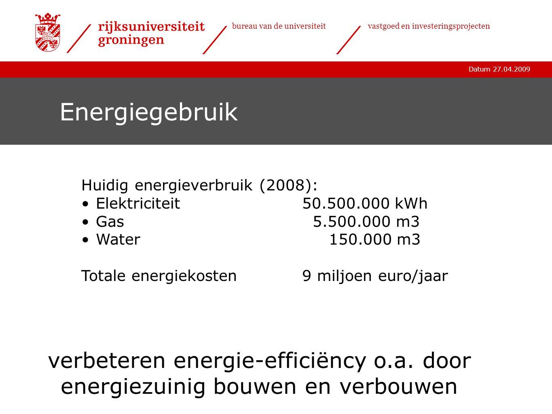 Datum 27.04.2009 bureau van de universiteitvastgoed en investeringsprojecten Energiegebruik Huidig energieverbruik (2008): •Elektriciteit50.500.000 kW