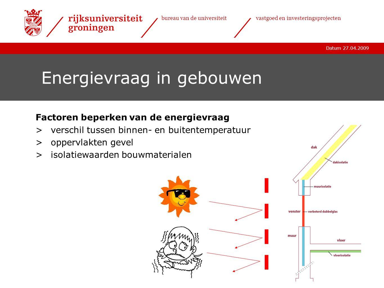 Datum 27.04.2009 bureau van de universiteitvastgoed en investeringsprojecten Energievraag in gebouwen Factoren beperken van de energievraag >verschil