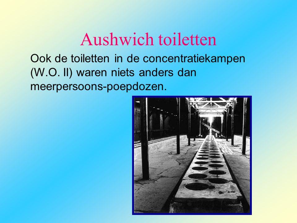 Aushwich toiletten Ook de toiletten in de concentratiekampen (W.O. II) waren niets anders dan meerpersoons-poepdozen.