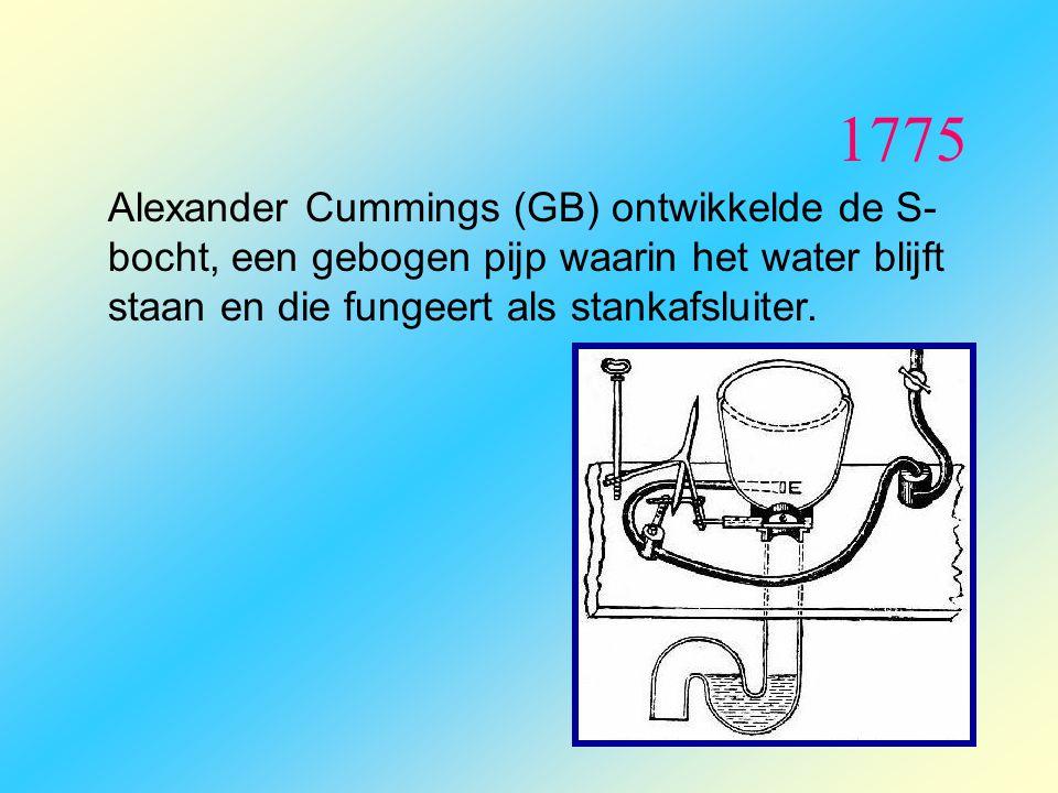 1775 Alexander Cummings (GB) ontwikkelde de S- bocht, een gebogen pijp waarin het water blijft staan en die fungeert als stankafsluiter.